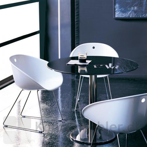 Inox cafébord med rund bordplade