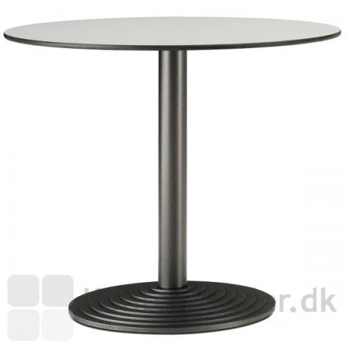 Step cafébord med sort stel, vælg mellem flere bordplade typer