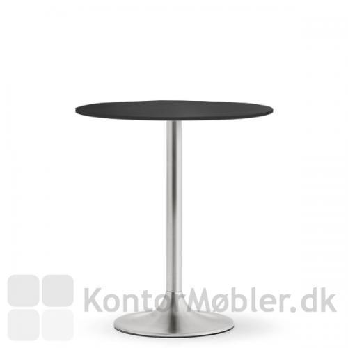 Dream cafébord med sort bordplade i nano laminat og stel i børstet stål