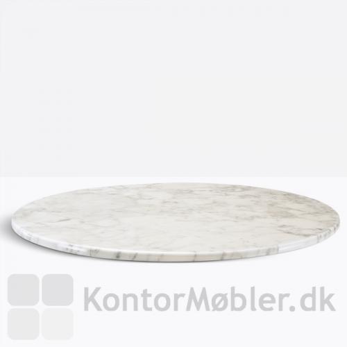 Hvid marmor bordplade til Inox cafébord
