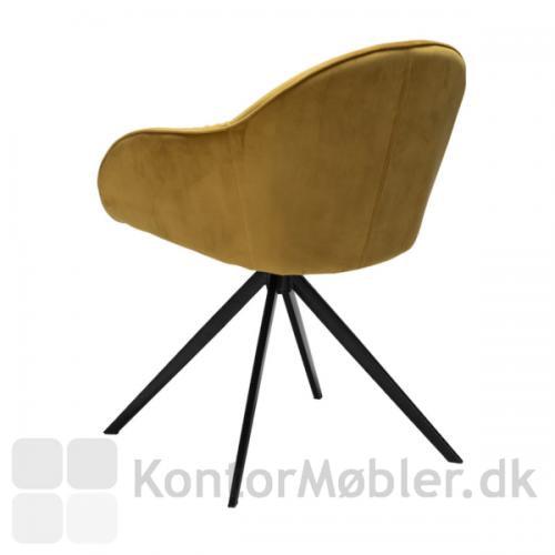 Cray stol med velour i bronze farve og sorte ben