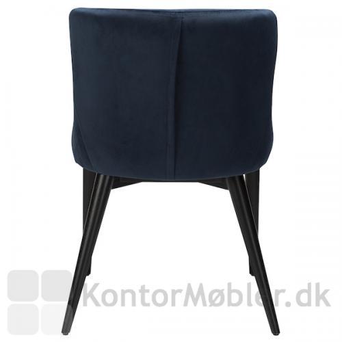 Vetro stol i Midnight Blå velour set bagfra