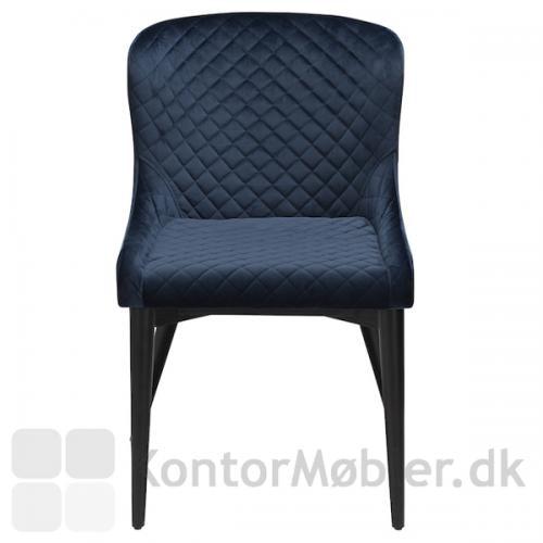 Vetro stol i Midnight Blå velour set forfra