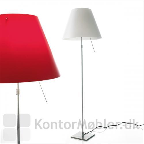 Costanza gulvlampe i Primary red og hvid lampeskærm