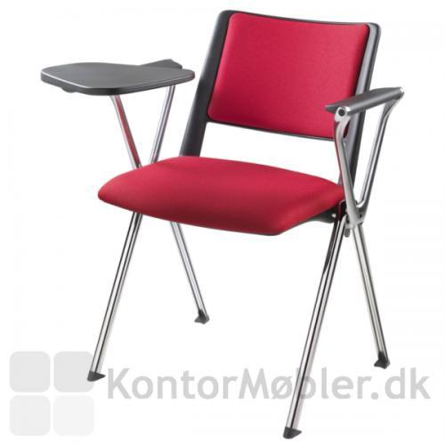 Rave konferencestol med krom ben, armlæn i poleret aluminium og skriveplade