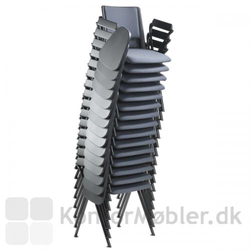 Rave konferencestol polstret, med armlæn og skriveplade, kan stables med 15 stk