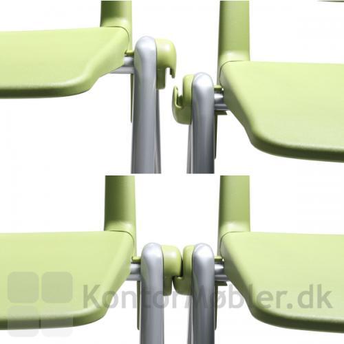 Rave stolen uden armlæn har integreret koblingsbeslag