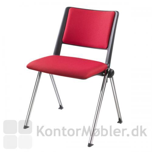 Rave konferencestol med polstring og krom ben - bemærk at sædet er bliver lidt kraftigere ved polstring