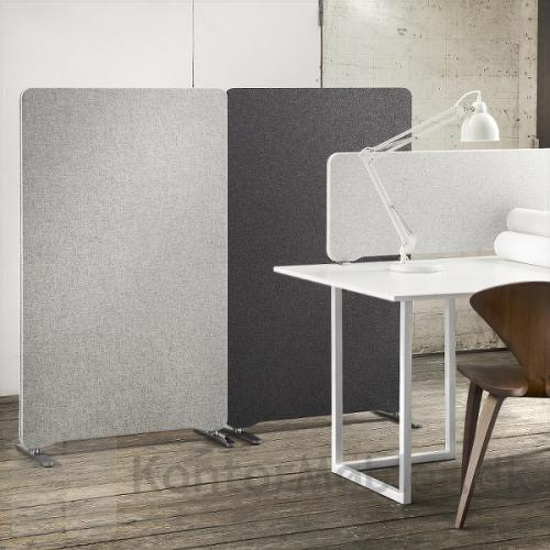 Edge gulvskærm kan kombineres med bordskærm for at opnå en bedre akustik i rummet