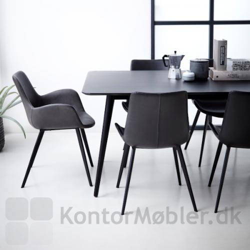 Hype armstol med armlæn i grå kunstlæder
