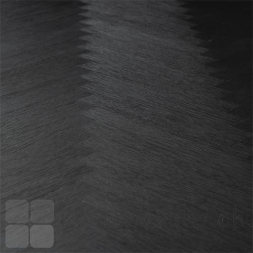 Bone mødebord med sildebensmønster i sort farvet ask