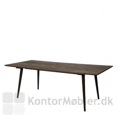 Bone mødebord med let vinklede koniske ben