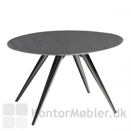 Eclipse rundt bord med bordplade i gråbejdset ask og sorte ben