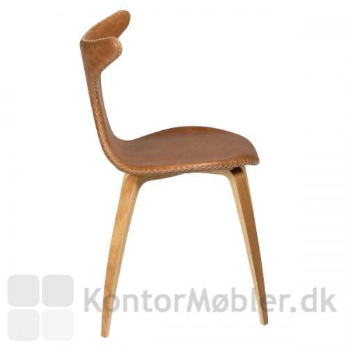 Dolphin stol med egeben og lysebrun læder