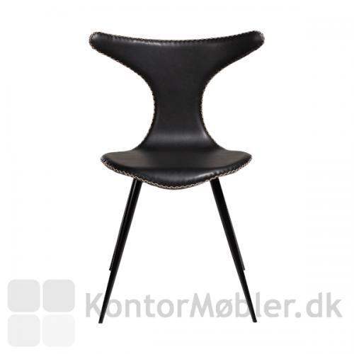 Dolphin stol med sorte koniske ben og sort vintage kunstlæder