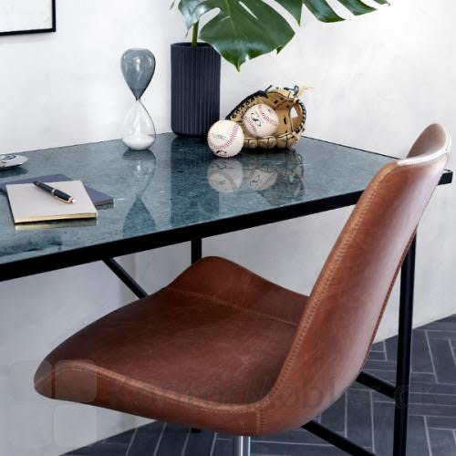 Hype kontorstol polstret med lys brun kunstlæder