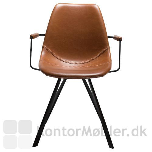Pitch restaurantstol med armlæn Vintage lysebrun