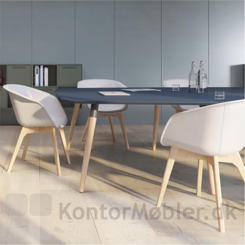 XL konferencebord med linoleums bordplade i farven Smokey blue