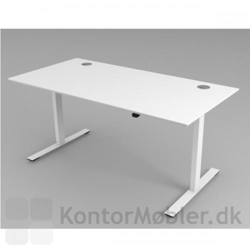 Delta hæve sænke bord med hvidt stel og hvid bordplade i højtrykslaminat. Her med to runde lågeklapper i hjørnerne.