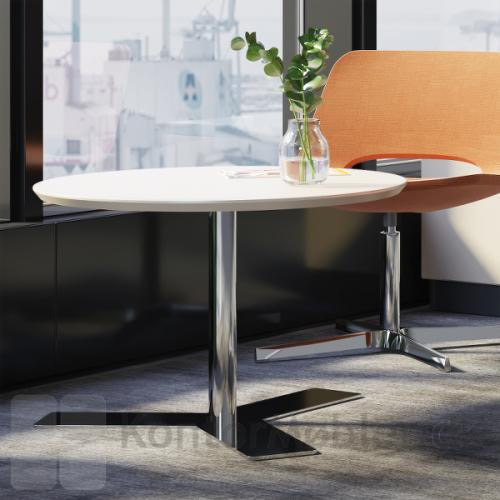 Delta rundt mødebord i linoleum / Nano, bordpladen er hvid - stelfarven krom