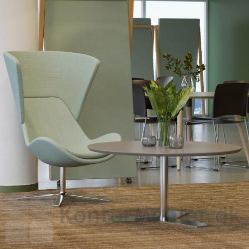 Delta rundt mødebord med linoleums bordplade i farven Pebble, med krom stel