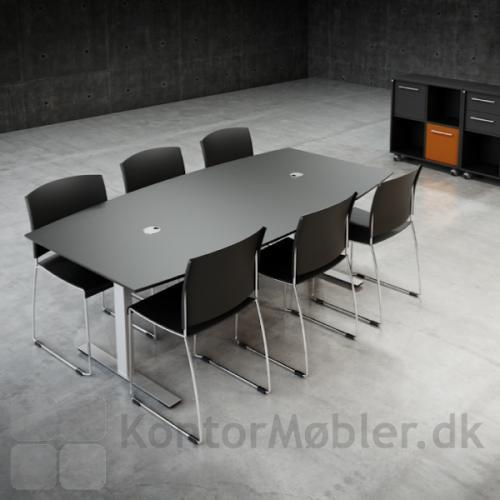 Mødebord med bordplade i linoleum og alu stel