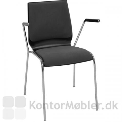 Spela lamineret træskal stol med grå brikpolstring på sæde og ryg