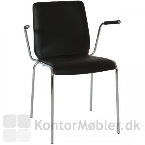 Spela lamineret træskal stol med sort læder fuldpolstring, gør Spela til en eksklusiv mødestol.