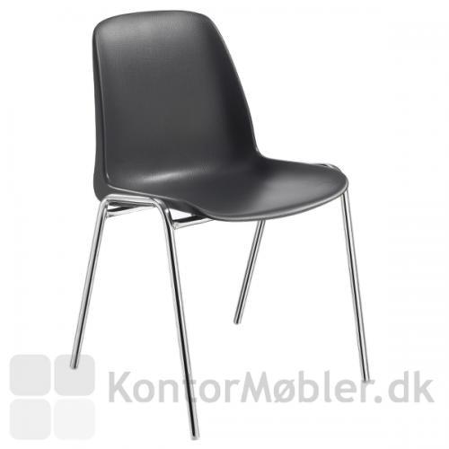Selena plastic stol i sort - til fælleshus, forsamlingshus, idrætshal, samt større lokaler