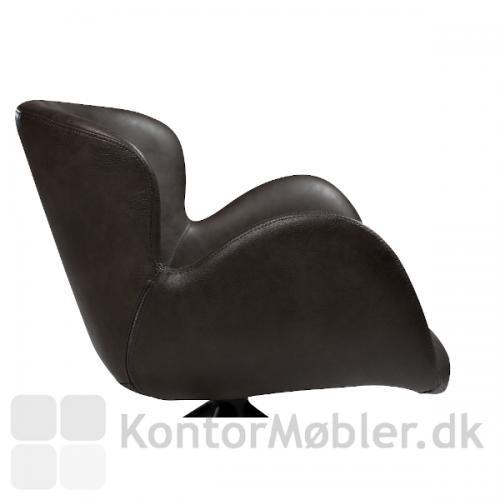 Gaia Loungestol i grå vintage kunstlæder. En smuk stol til loungen, receptionen eller hjemme i privaten