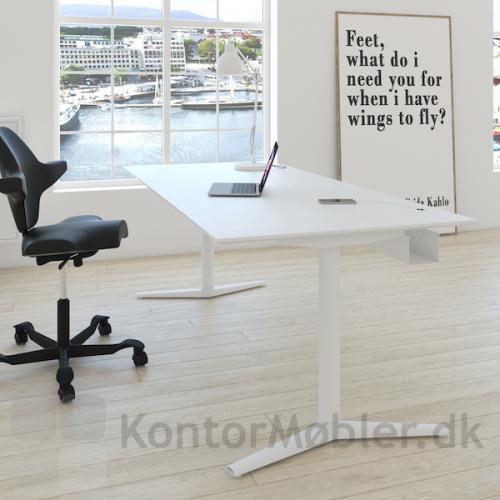Switch hæve sænkebord i hvid laminat og hvid stel