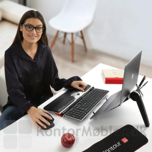 Contour Rollermouse Red Plus med tastatur og laptop stand