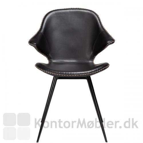 Karma restaurantstol fra Dan-Form i sort vintage kunstlæder - Flot og karakteristisk