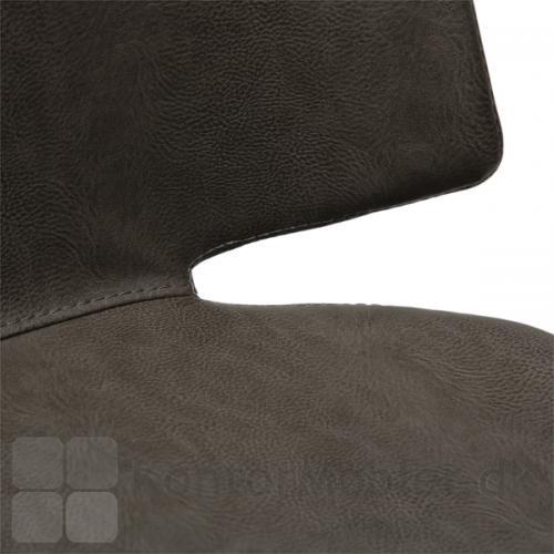Swing restaurantstol i grå vintage kunstlæder, med syning mellem sæde og ryg