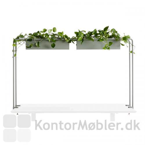 Flower House består af 2 blomsterkasser med plastindsatser på en bøjlekonstruktion til at fastsætte på dit skrivebord.