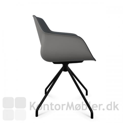 FourMe 11 mødestol med sort stel, skal i farven antracit og indersidepolstring