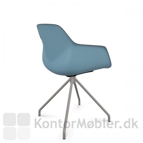 FourMe 11 mødestol med aqua blå skal og stel i farven varm grå
