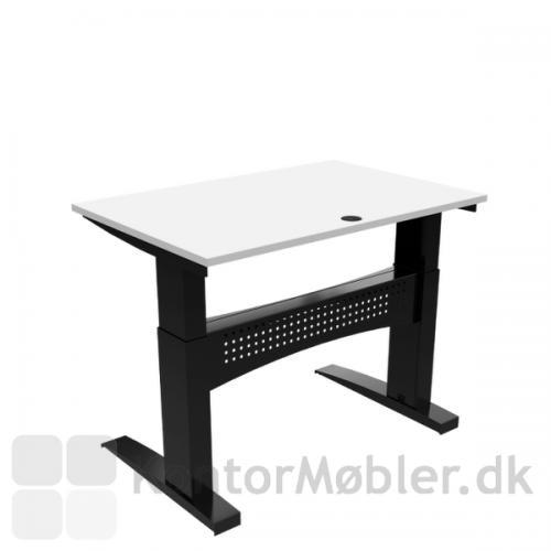 Conset 501-11 hæve sænke bord med hvid bordplade 120x80 cm og sort stel