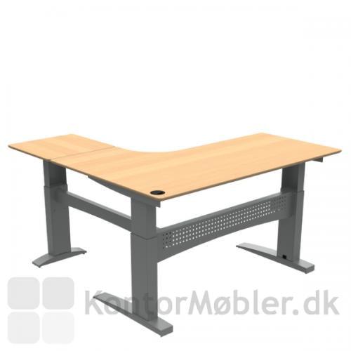 Conset 501-11 hæve sænke bord med finér bordplade. Højrevendt med sidebord - kontakt os for yderligere information