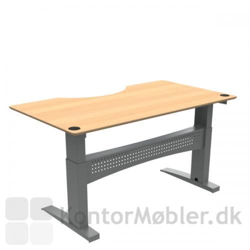 Conset 501-11 hæve sænke bord med finér bordplade og centerbue udskæring