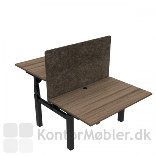 Conset 501-88 Dobbelt hæve sænke bord med valnød bordplade i str. 120x80 cm