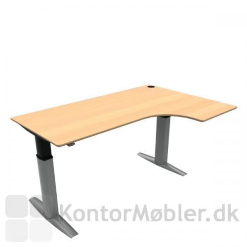 Conset 501-23 hæve sænke bord med højre vendt bordplade i finér. Kontakt os for yderligere information