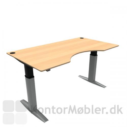 Conset 501-23 hæve sænke bord med bordplade i finér med centerudskæring. Kontakt os for yderligere information