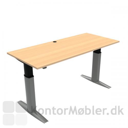 Conset 501-23 hæve sænke bord med bøg melamin bordplade i størrelsen 180x80 cm