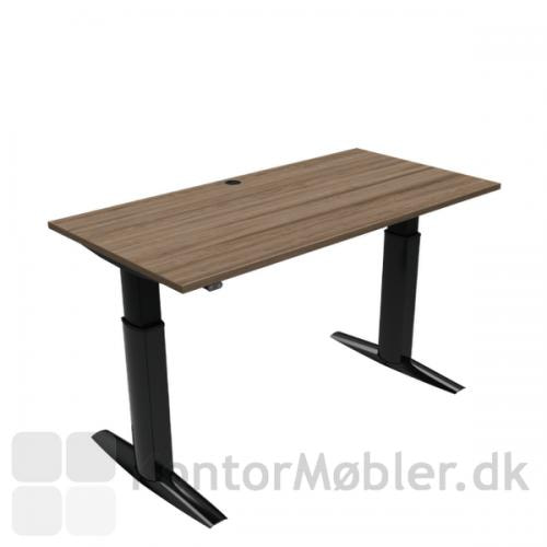 Conset 501-23 hæve sænke bord med valnød melamin bordplade i størrelsen 160x80 cm