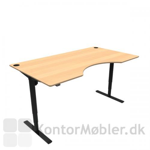 Conset 501-49 hæve sænke bord med bøg finér bordplade og sort stel