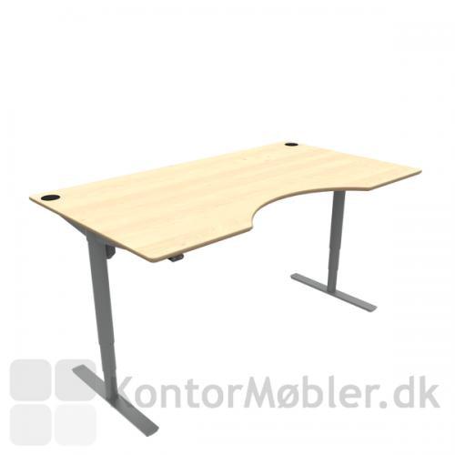 Conset 501-49 hæve sænke bord med ahorn finér bordplade og sølv stel