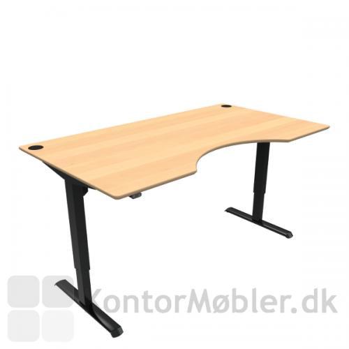 Conset 501-33 hæve sænke bord med center udskæring i finér bordpladen