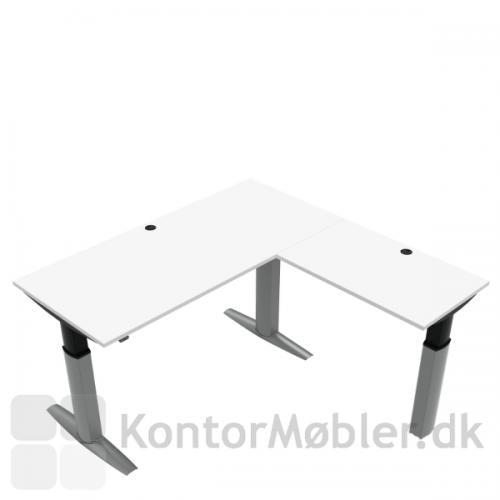 Conset 501-23 hæve sænke bord m. sidebord. Bordstørrelse 180x80 cm sidebord 100x60 cm
