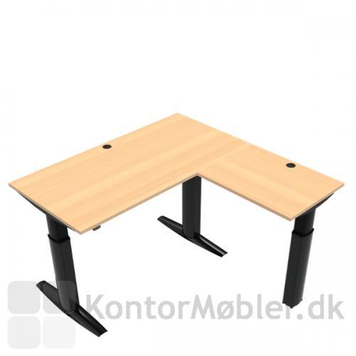 Conset 501-23 hæve sænke bord m. sidebord. Bordstørrelse 160x80 cm sidebord 80x60 cm